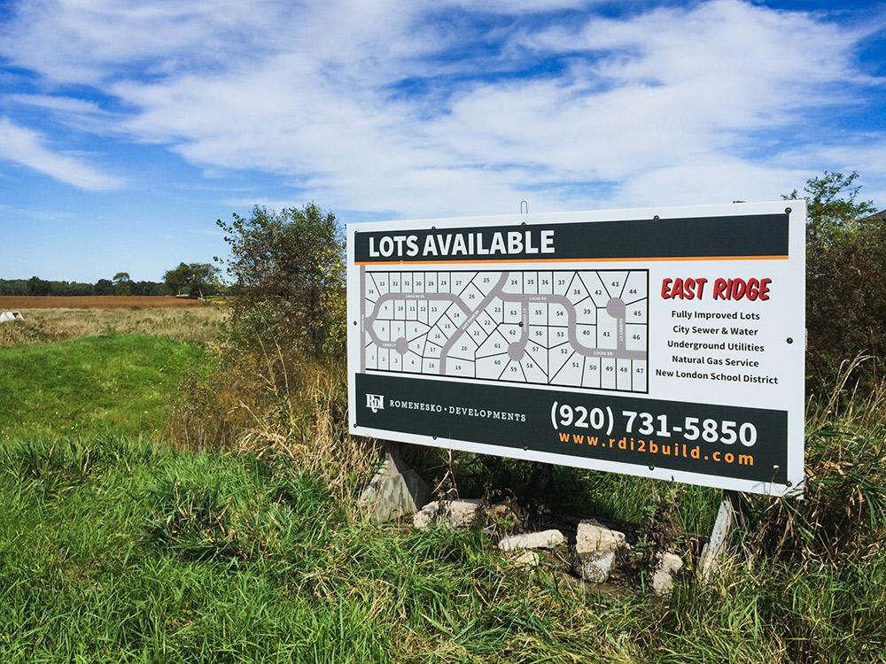 East Ridge Subdivision Lot Sign